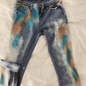 Urban Outfitters acid washed painted jeans